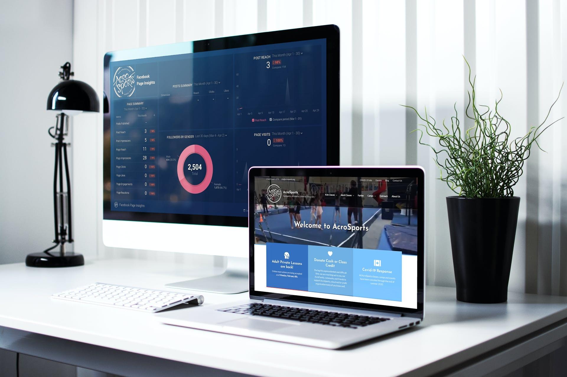 Databoard on desktop and website on laptop