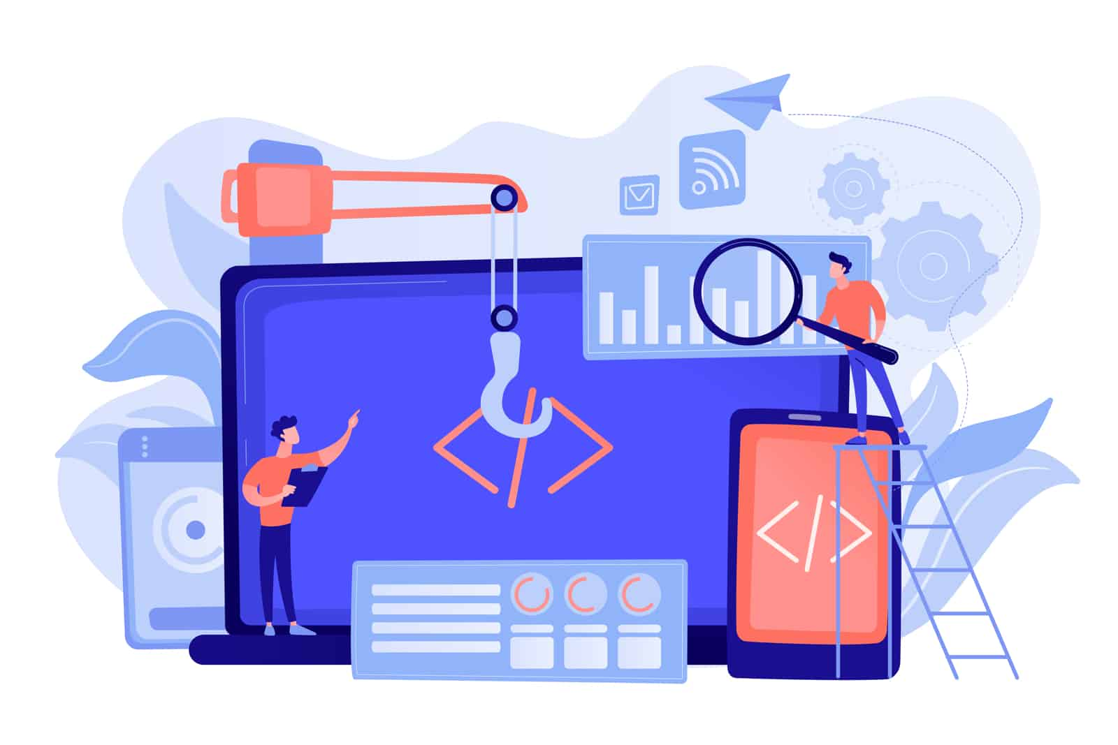 Engineer and developer with laptop and tablet code. Cross-platform development, cross-platform operating systems and software environments concept. Pinkish coral bluevector isolated illustration